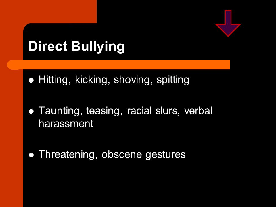 Children Who Bully are More Likely to: Get into frequent fights Be injured in a fight Steal, vandalize property Drink alcohol Smoke Be truant, drop out of school Report poorer academic achievement Perceive a negative climate at school Carry a weapon