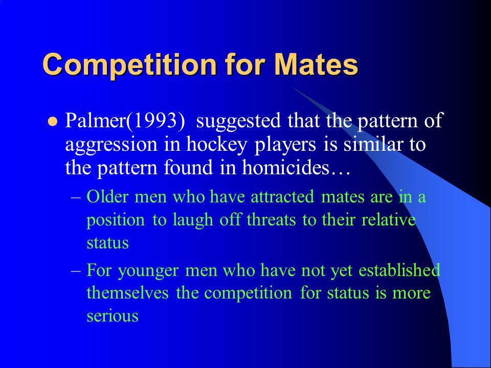100100 5050 00 Humorous Humorous Palmer (1993) 7575 Cool Overaggression But younger players hostility was more likely to be cold and instrumental or a