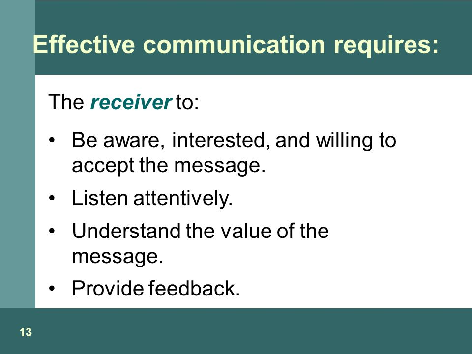 Effective communication requires: 13 The receiver to: Be aware, interested, and willing to accept the message.