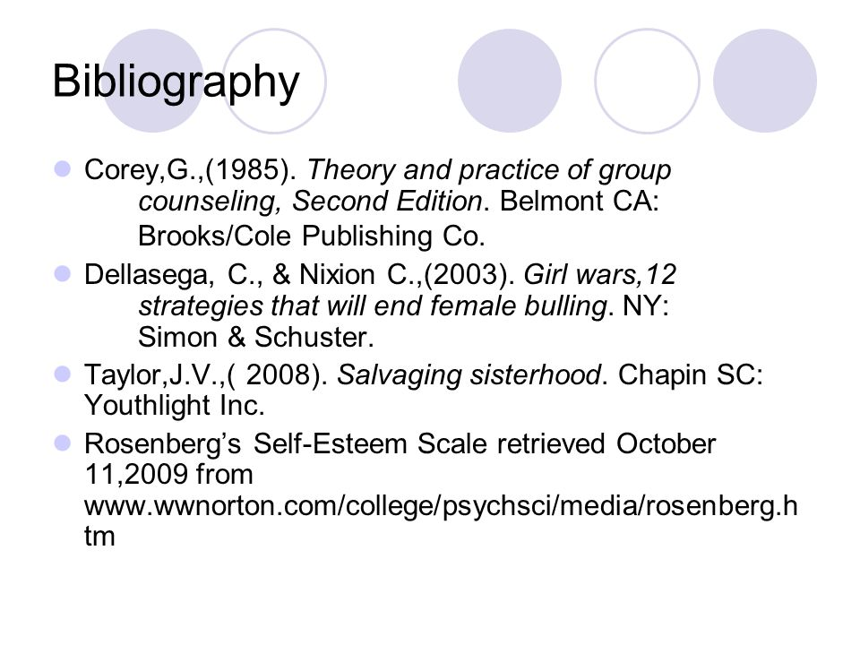 Bibliography Corey,G.,(1985). Theory and practice of group counseling, Second Edition. Belmont CA: Brooks/Cole Publishing Co. Dellasega, C., & Nixion