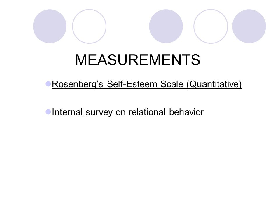 MEASUREMENTS Rosenberg's Self-Esteem Scale (Quantitative) Internal survey on relational behavior