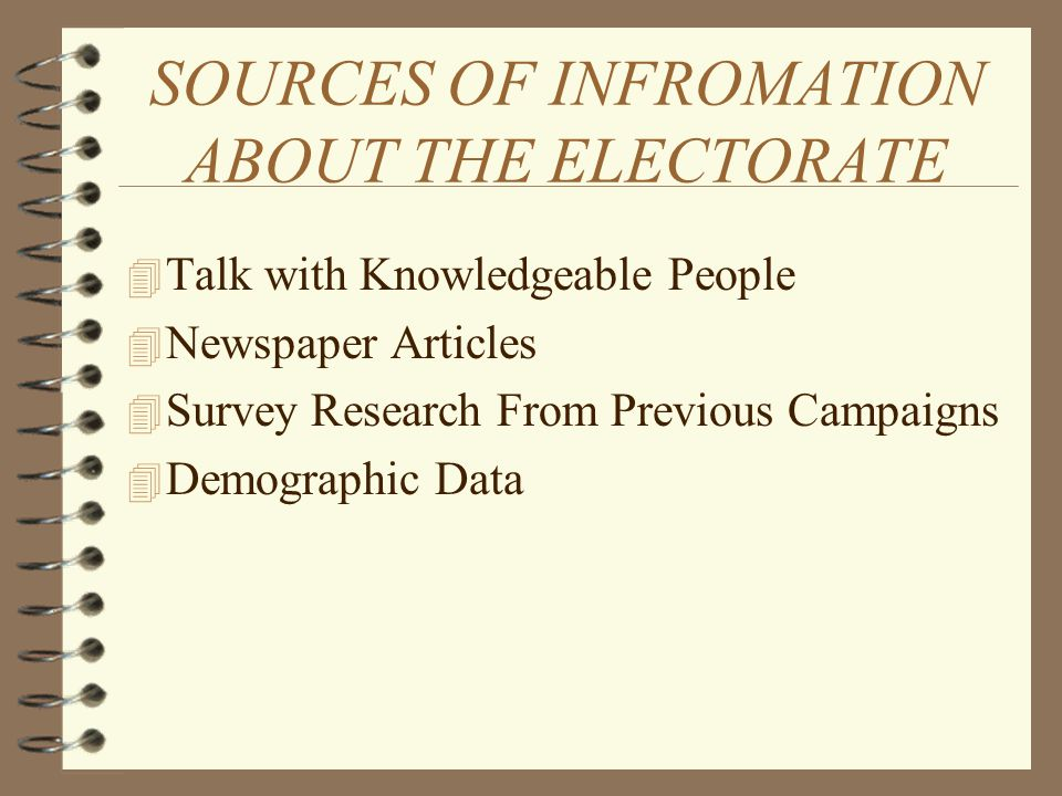 SOURCES OF INFROMATION ABOUT THE ELECTORATE 4 Talk with Knowledgeable People 4 Newspaper Articles 4 Survey Research From Previous Campaigns 4 Demographic Data