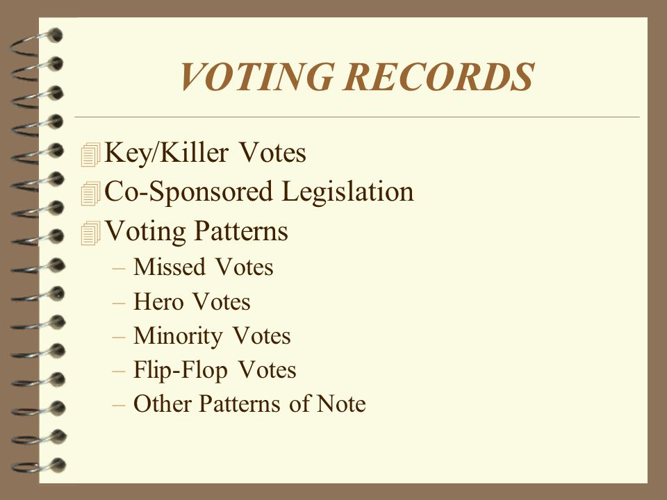 VOTING RECORDS 4 Key/Killer Votes 4 Co-Sponsored Legislation 4 Voting Patterns –Missed Votes –Hero Votes –Minority Votes –Flip-Flop Votes –Other Patterns of Note