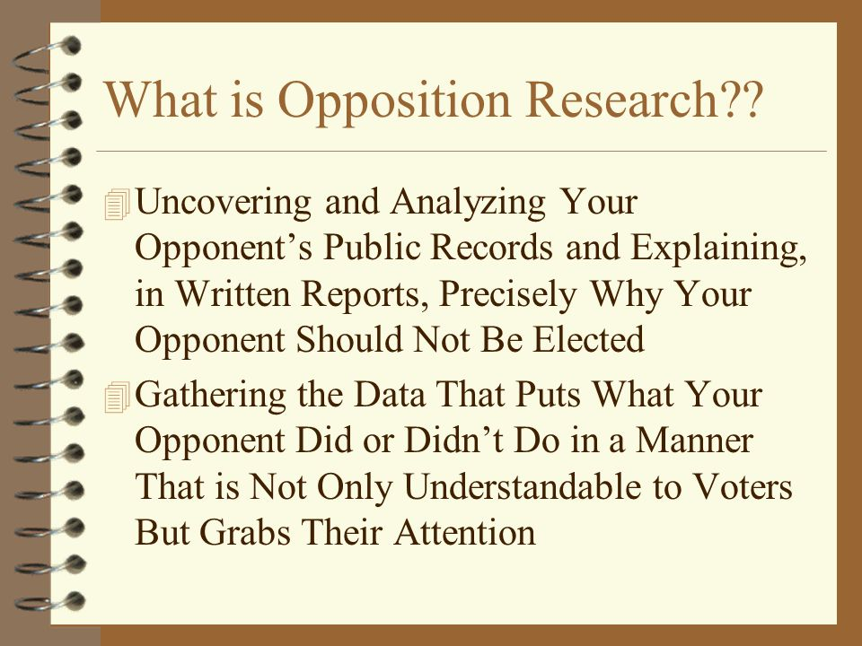 What is Opposition Research .