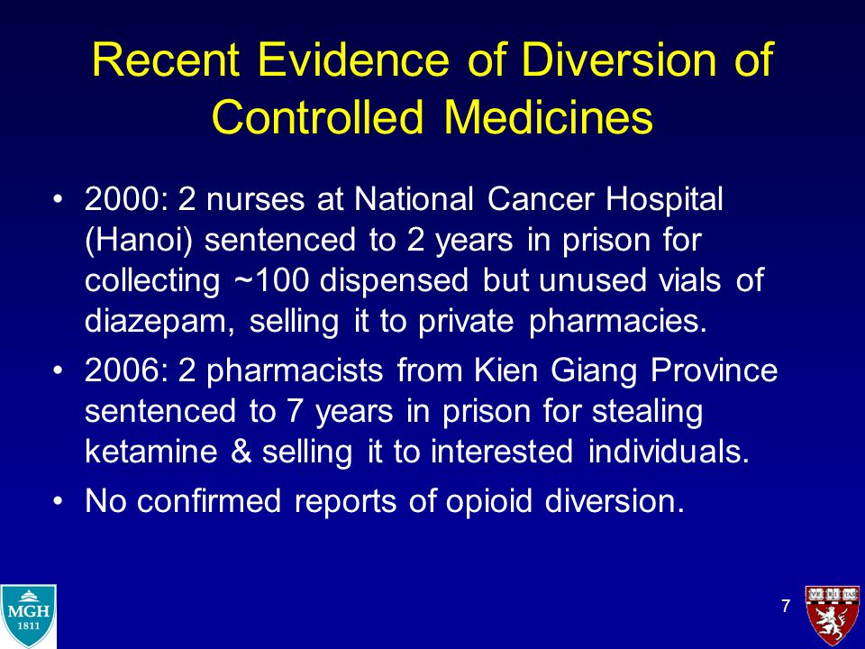 8 Results of Diversion of Controlled Medicines Changes in regulatory policy:  Diazepam briefly classified as narcotic:  Very secure storage  Restrictions on prescribing that limited access (It is now considered again a psychotropic drug with less strict regulations for storage and prescribing.) Prison terms for all diverters Probably greater fear among MDs that they will be held responsible if a patient diverts.