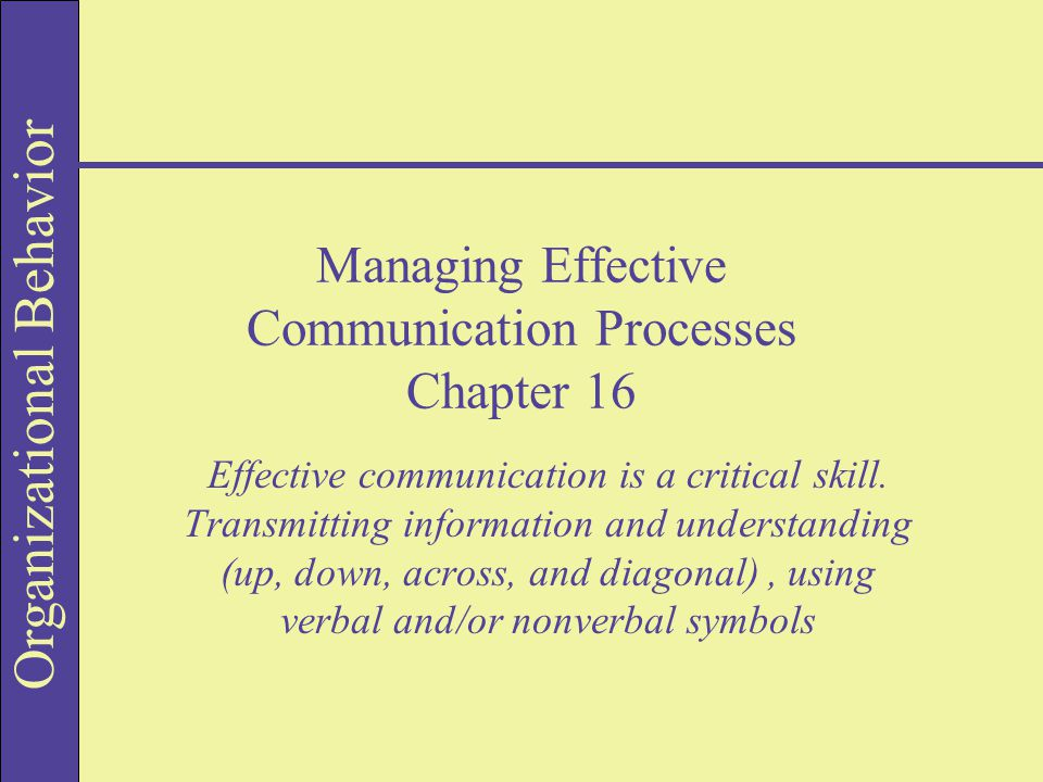 Organizational Behavior Managing Effective Communication Processes Chapter 16 Effective communication is a critical skill.