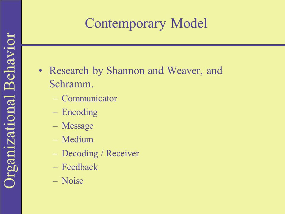 Organizational Behavior Contemporary Model Research by Shannon and Weaver, and Schramm.