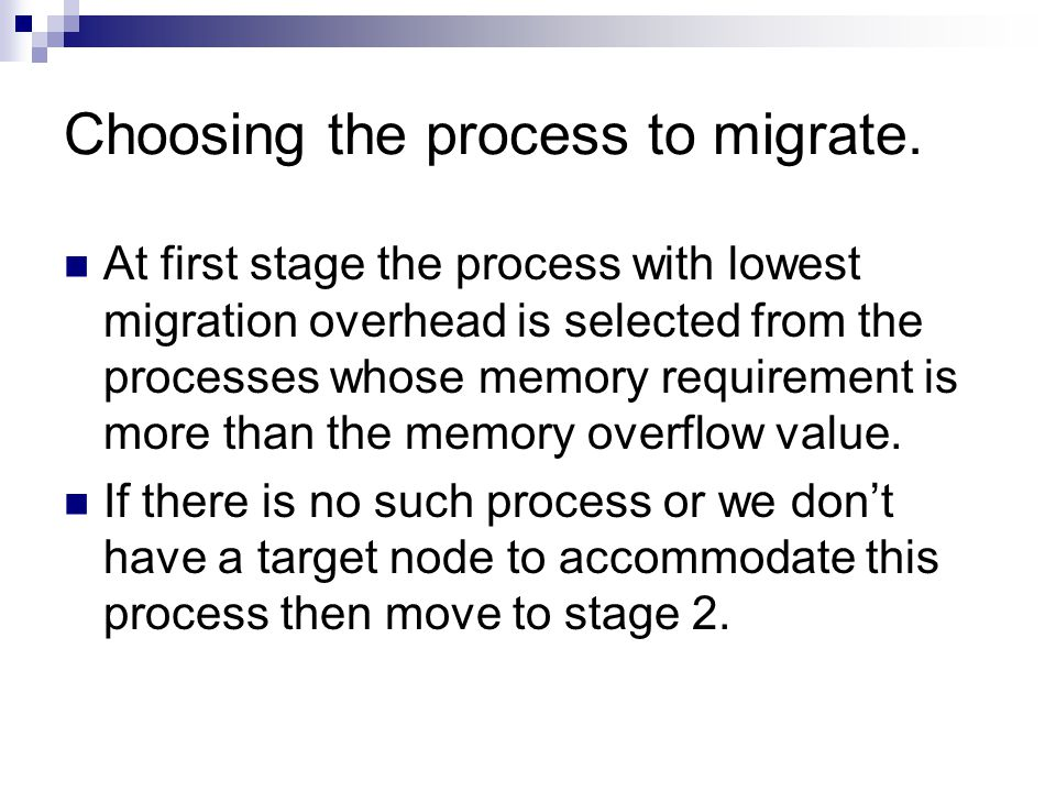 Choosing the process to migrate.