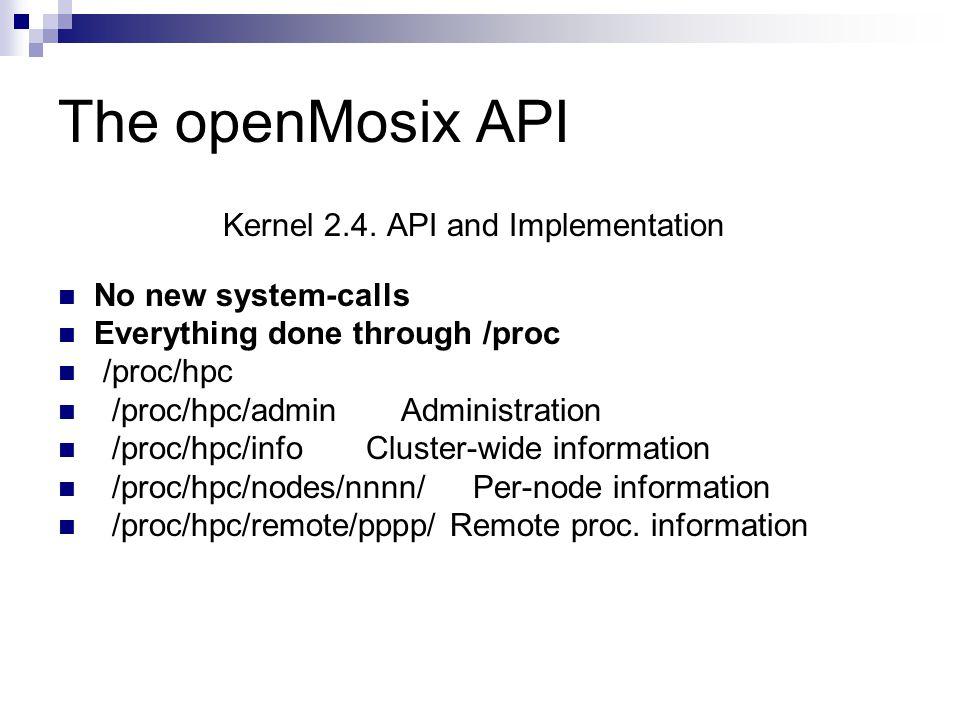 The openMosix API Kernel 2.4.