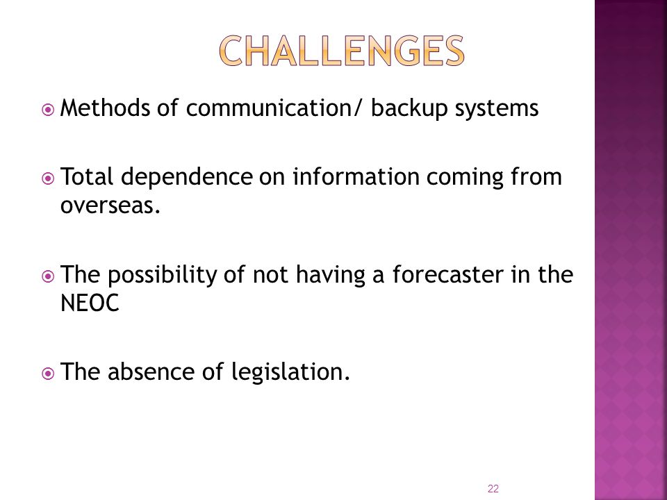  Methods of communication/ backup systems  Total dependence on information coming from overseas.
