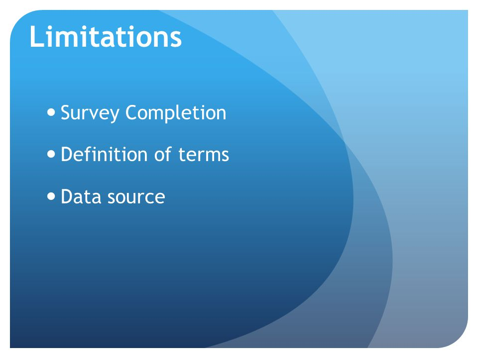 Survey Completion Definition of terms Data source Limitations