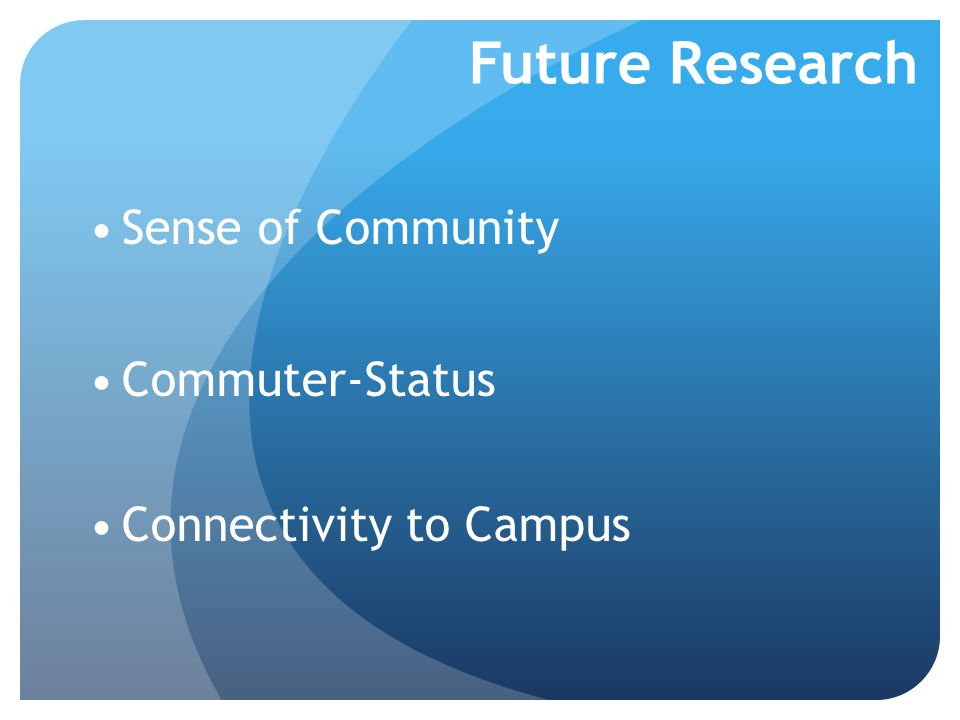 Future Research Sense of Community Commuter-Status Connectivity to Campus