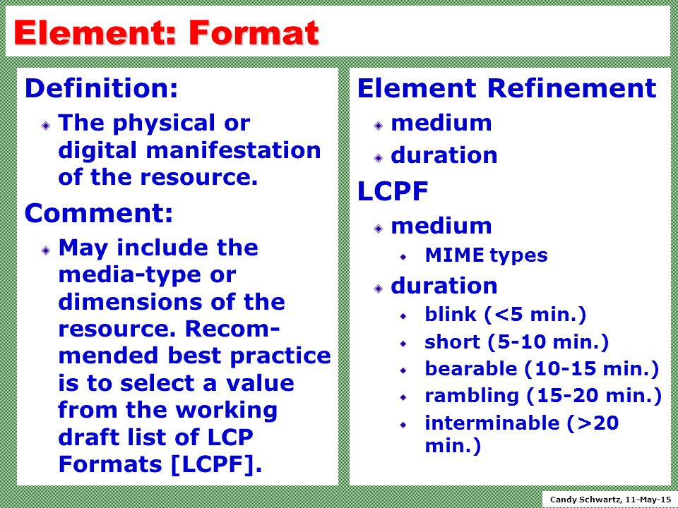 Candy Schwartz, 11-May-15 Element: Format Definition: The physical or digital manifestation of the resource.