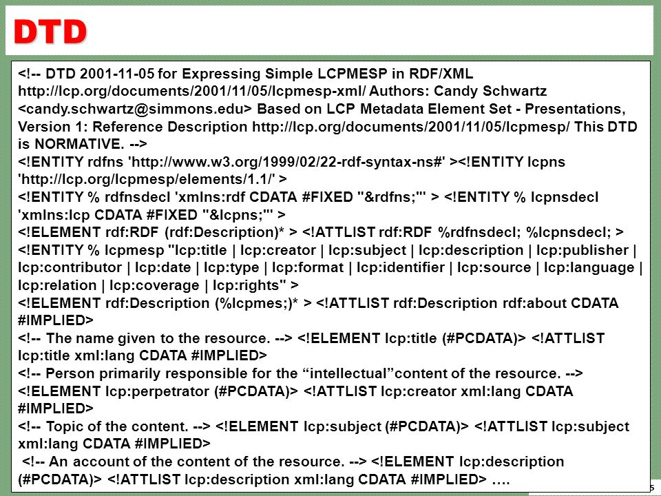 Candy Schwartz, 11-May-15 DTD Based on LCP Metadata Element Set - Presentations, Version 1: Reference Description http://lcp.org/documents/2001/11/05/lcpmesp/ This DTD is NORMATIVE.