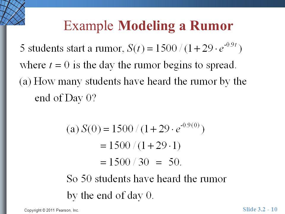 Copyright © 2011 Pearson, Inc. Slide 3.2 - 10 Example Modeling a Rumor