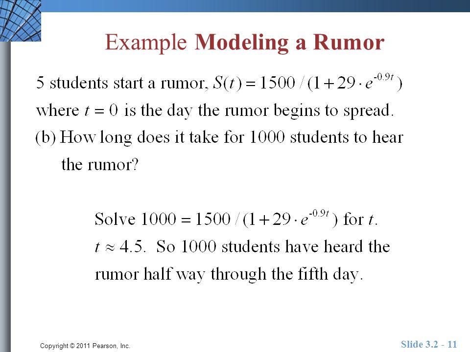 Copyright © 2011 Pearson, Inc. Slide 3.2 - 11 Example Modeling a Rumor