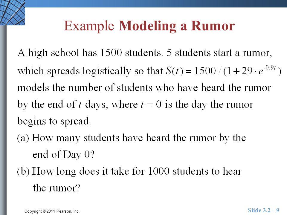 Copyright © 2011 Pearson, Inc. Slide 3.2 - 9 Example Modeling a Rumor