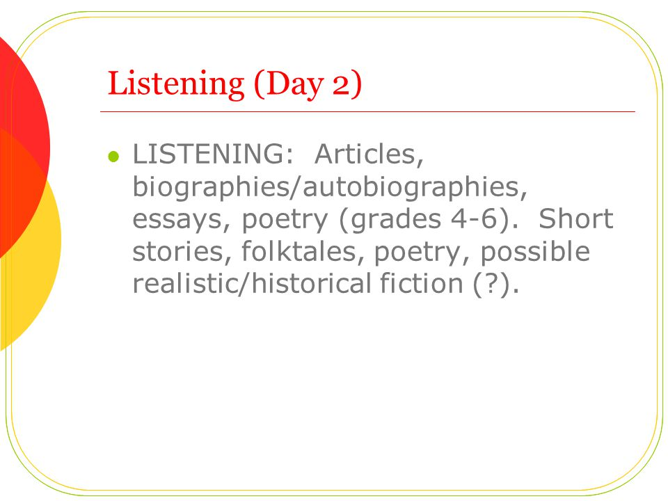 Listening (Day 2) LISTENING: Articles, biographies/autobiographies, essays, poetry (grades 4-6).
