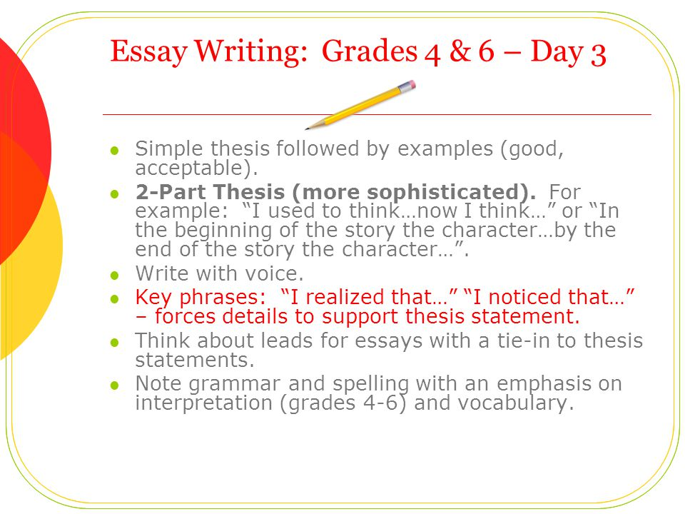 Essay Writing: Grades 4 & 6 – Day 3 Simple thesis followed by examples (good, acceptable).