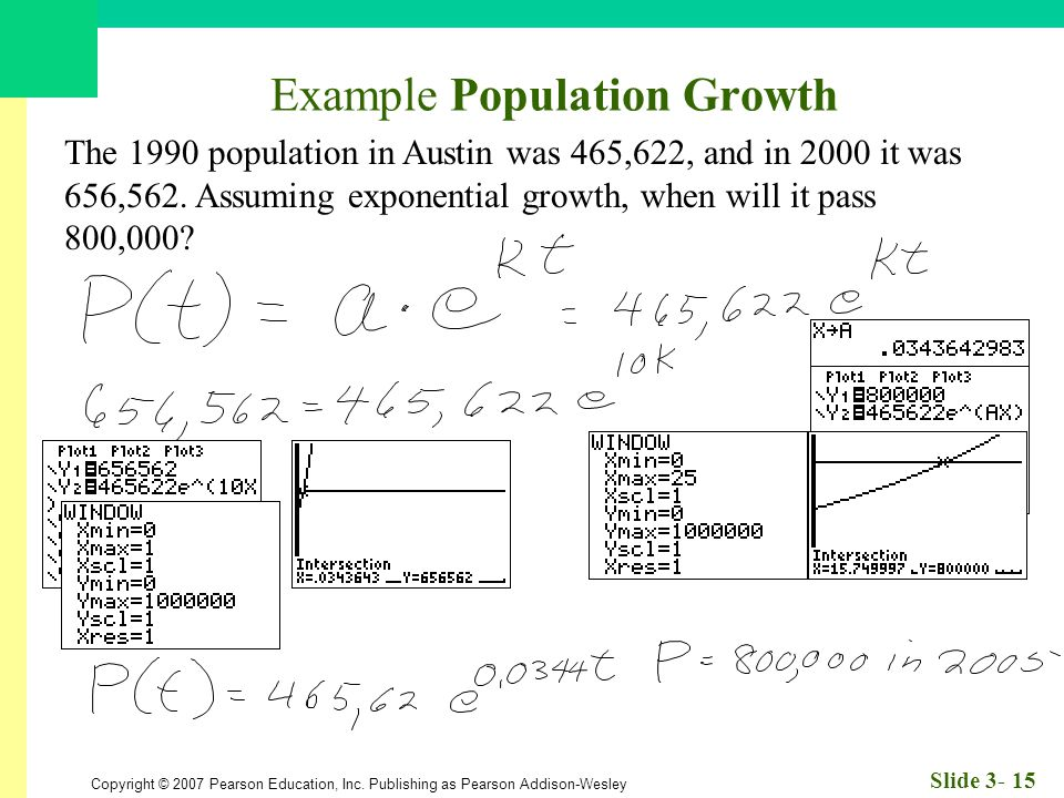 Copyright © 2007 Pearson Education, Inc. Publishing as Pearson Addison-Wesley Slide 3- 15 Example Population Growth The 1990 population in Austin was