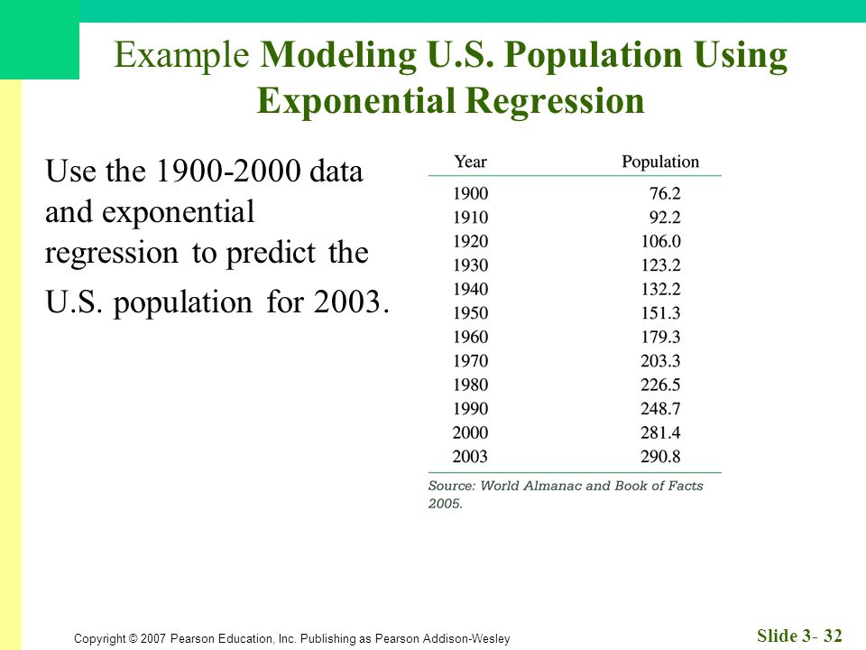 Copyright © 2007 Pearson Education, Inc. Publishing as Pearson Addison-Wesley Slide 3- 32 Example Modeling U.S. Population Using Exponential Regressio