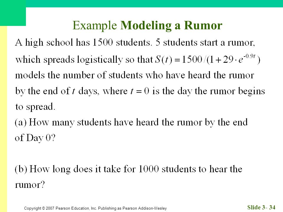 Copyright © 2007 Pearson Education, Inc. Publishing as Pearson Addison-Wesley Slide 3- 34 Example Modeling a Rumor