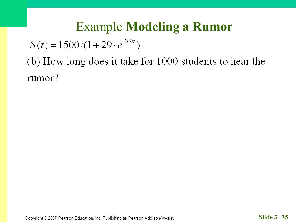 Copyright © 2007 Pearson Education, Inc. Publishing as Pearson Addison-Wesley Slide 3- 35 Example Modeling a Rumor