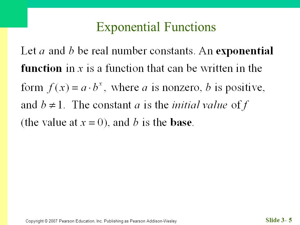 Copyright © 2007 Pearson Education, Inc. Publishing as Pearson Addison-Wesley Slide 3- 5 Exponential Functions
