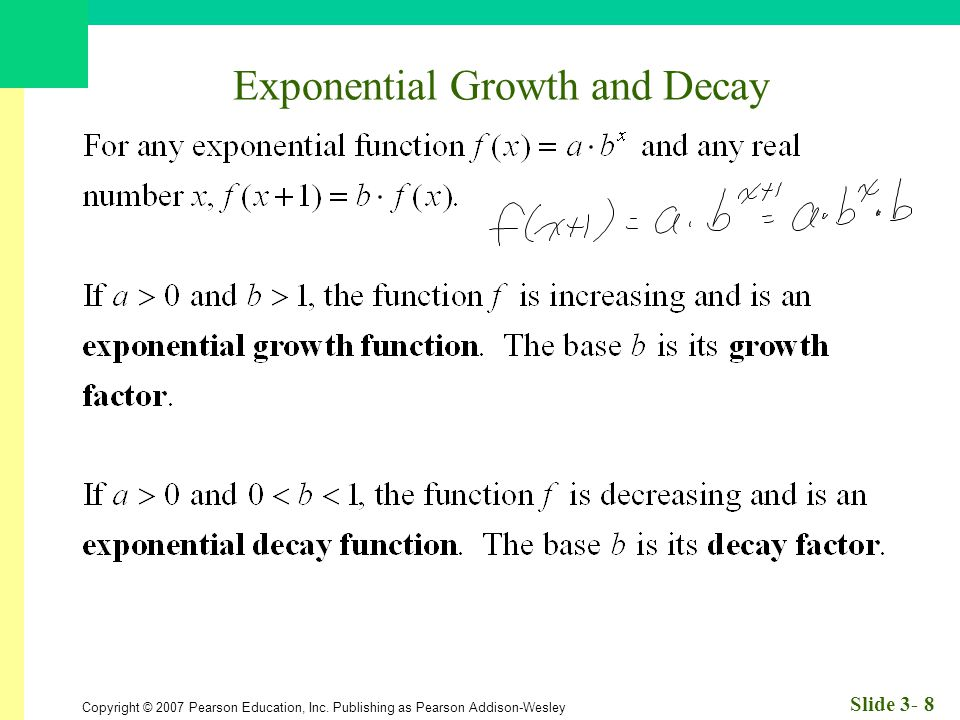 Copyright © 2007 Pearson Education, Inc. Publishing as Pearson Addison-Wesley Slide 3- 8 Exponential Growth and Decay