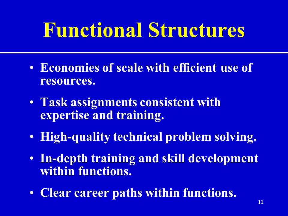 11 Functional Structures Economies of scale with efficient use of resources.