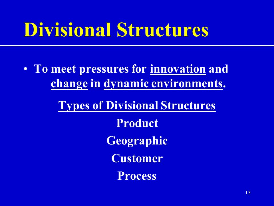 15 Divisional Structures To meet pressures for innovation and change in dynamic environments.