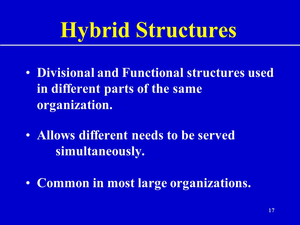 17 Hybrid Structures Divisional and Functional structures used in different parts of the same organization.