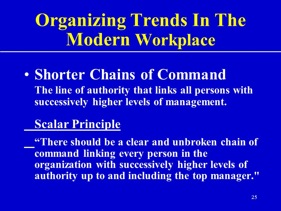 25 Organizing Trends In The Modern Workplace Shorter Chains of Command The line of authority that links all persons with successively higher levels of management.
