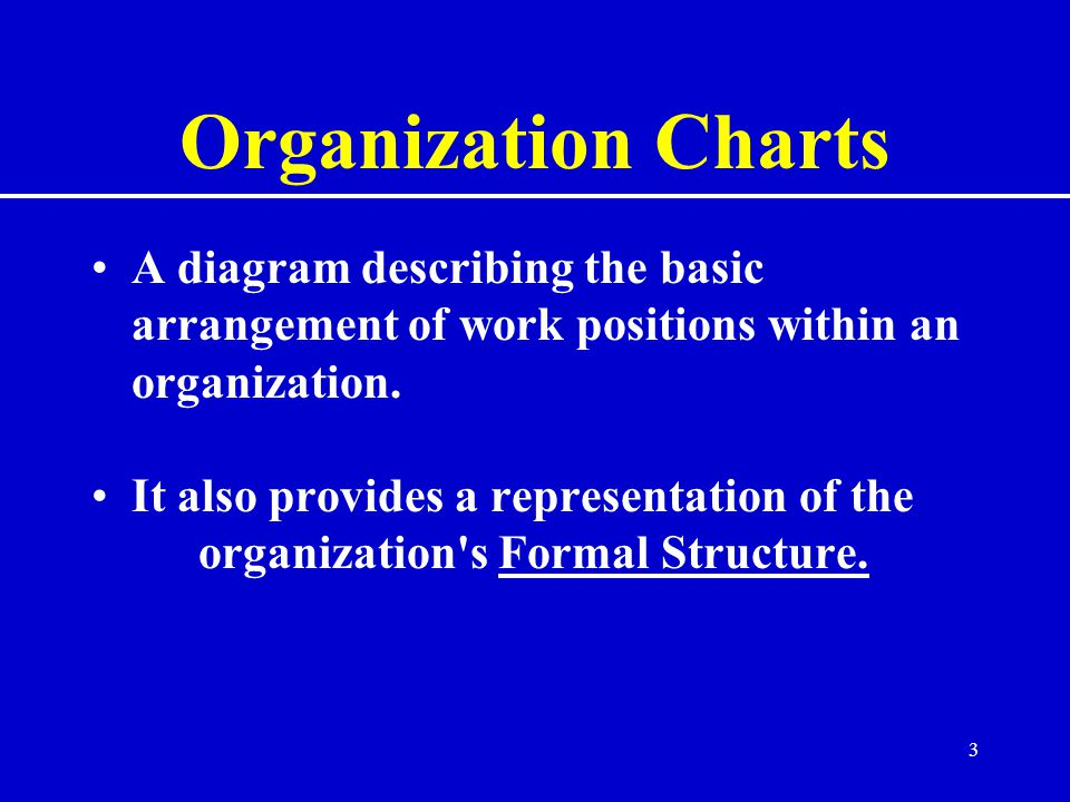 3 Organization Charts A diagram describing the basic arrangement of work positions within an organization.
