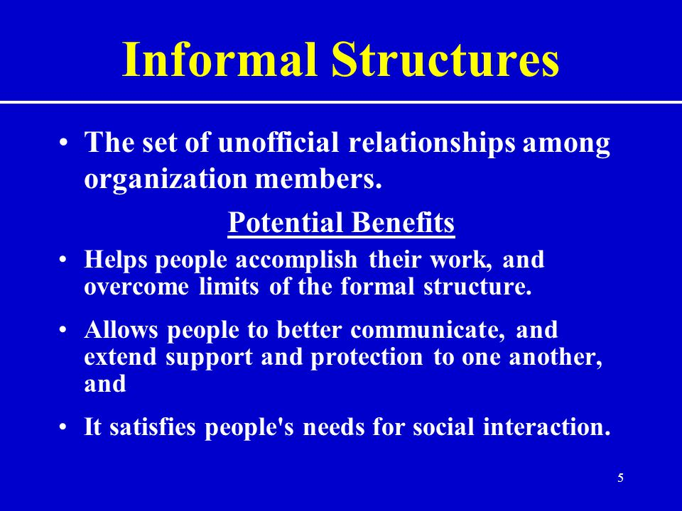 5 Informal Structures The set of unofficial relationships among organization members.