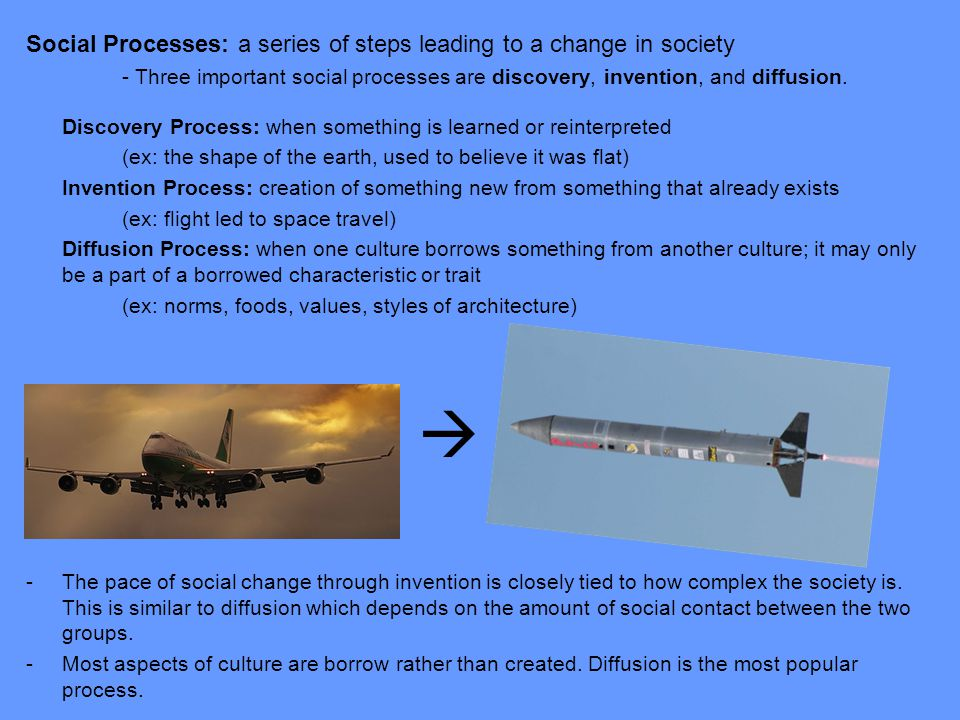 Social Processes: a series of steps leading to a change in society - Three important social processes are discovery, invention, and diffusion.