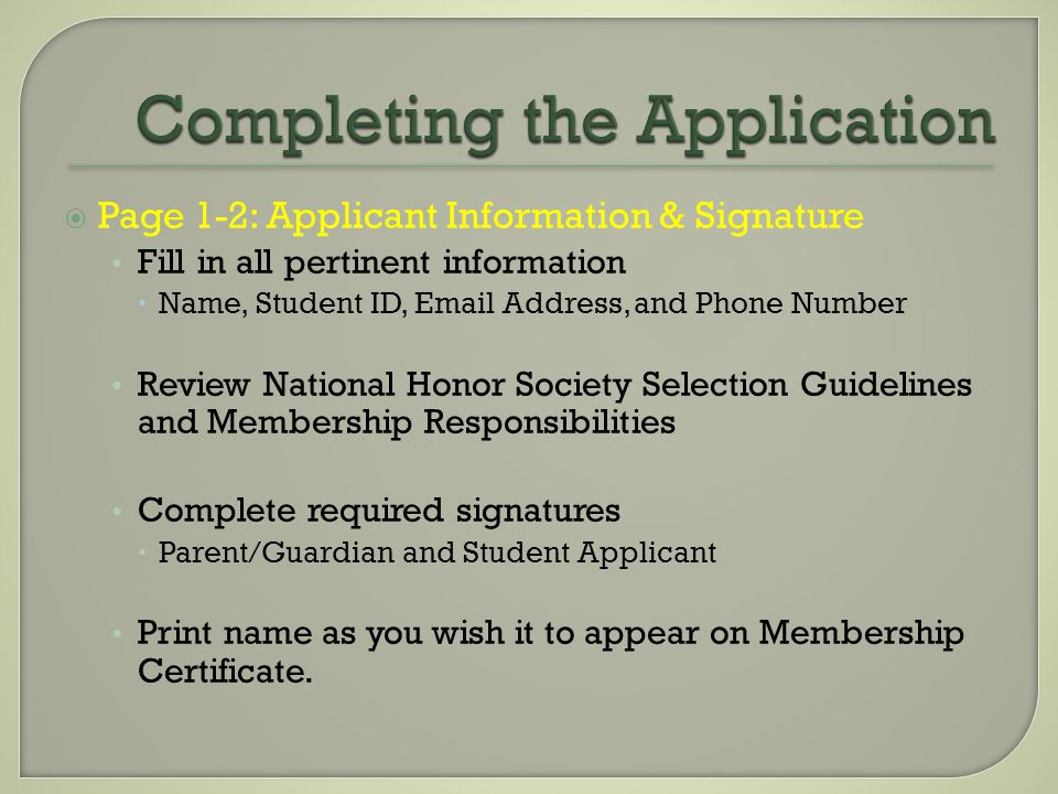  Page 3: Character Reference Form Complete and submit with a minimum of two signatures from teachers that support your application.