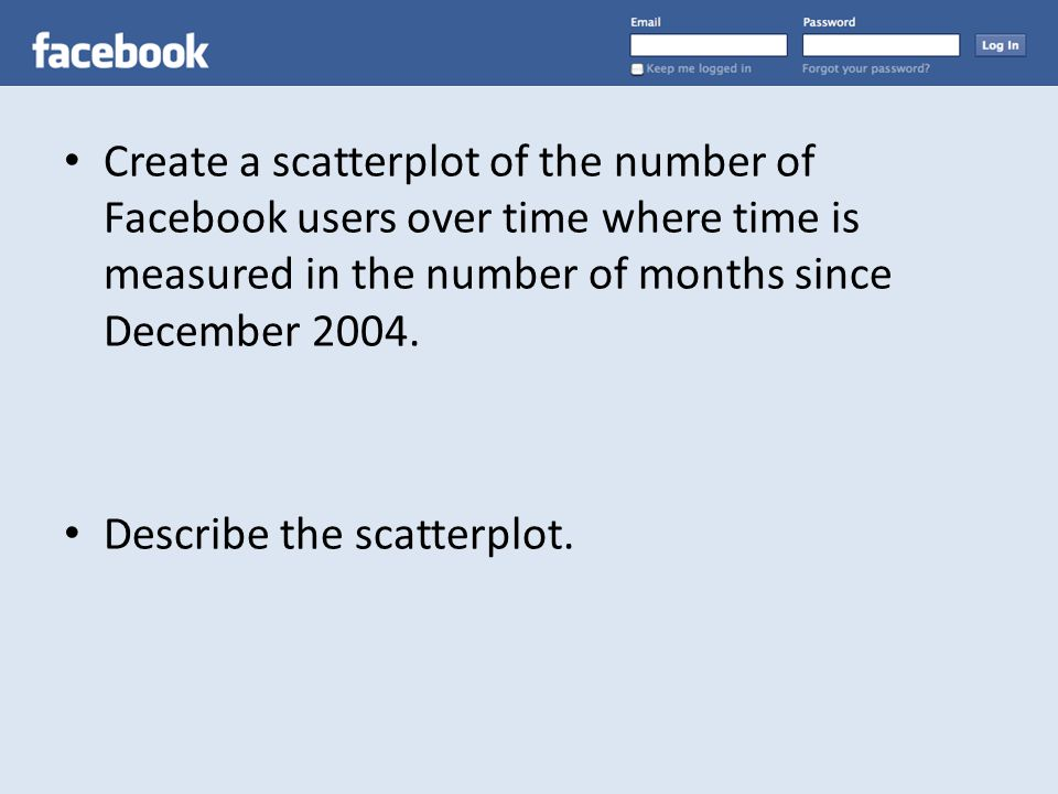 Create a scatterplot of the number of Facebook users over time where time is measured in the number of months since December 2004.