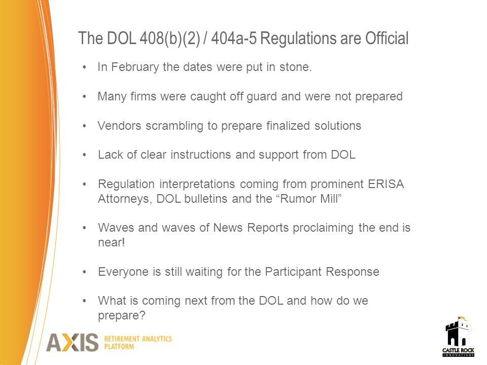 Source of DOL Enforcement Authority CIVIL ENFORCEMENT ERISA 502(a) empowers DOL to bring civil actions.