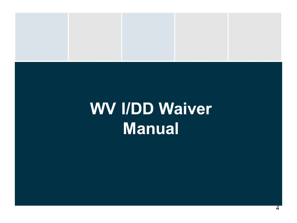 4 WV I/DD Waiver Manual