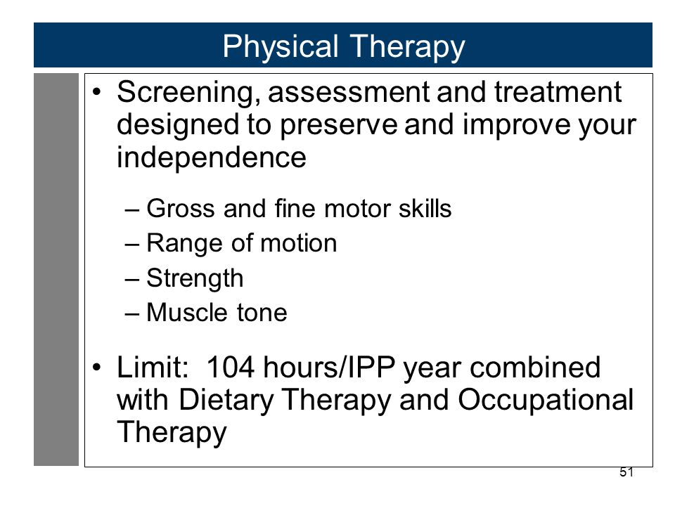 51 Physical Therapy Screening, assessment and treatment designed to preserve and improve your independence –Gross and fine motor skills –Range of motion –Strength –Muscle tone Limit: 104 hours/IPP year combined with Dietary Therapy and Occupational Therapy