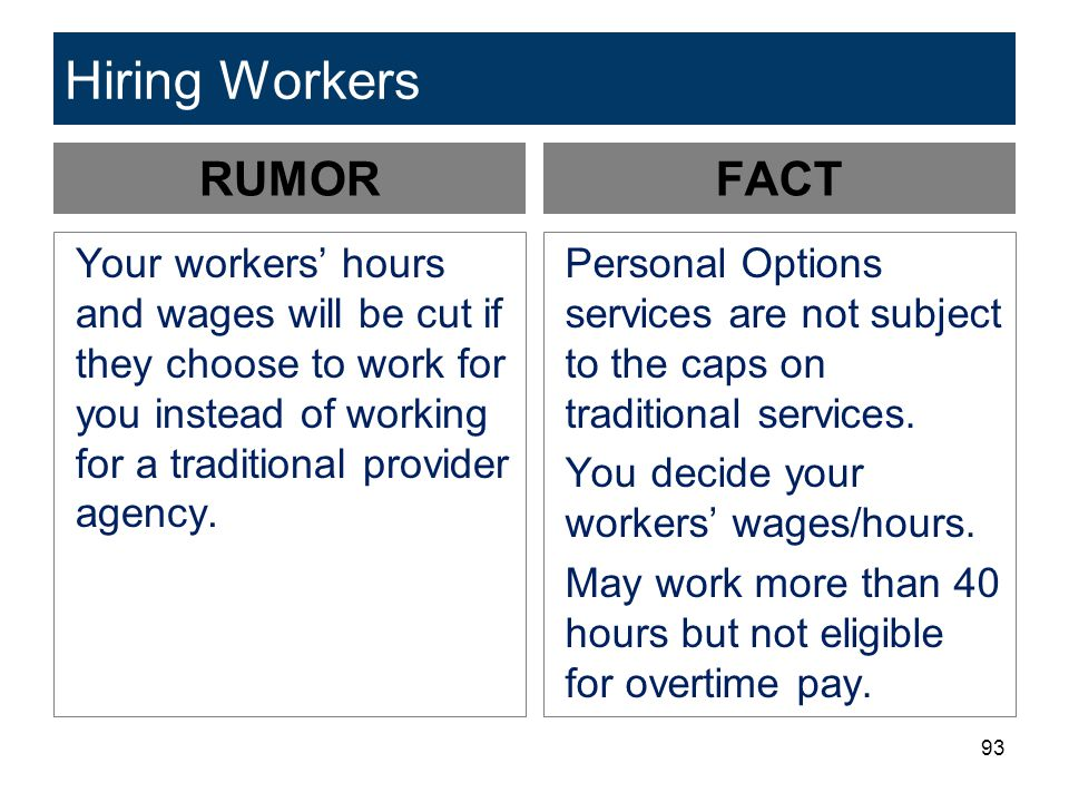93 Hiring Workers RUMOR Your workers' hours and wages will be cut if they choose to work for you instead of working for a traditional provider agency.