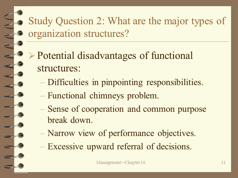 Management - Chapter 1011 Study Question 2: What are the major types of organization structures?  Potential disadvantages of functional structures: –