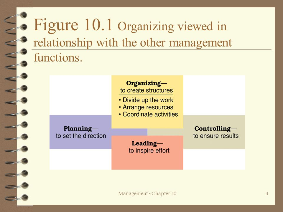 Management - Chapter 104 Figure 10.1 Organizing viewed in relationship with the other management functions.