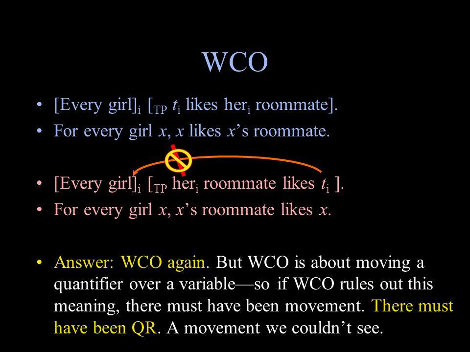 WCO [Every girl] i [ TP t i likes her i roommate].