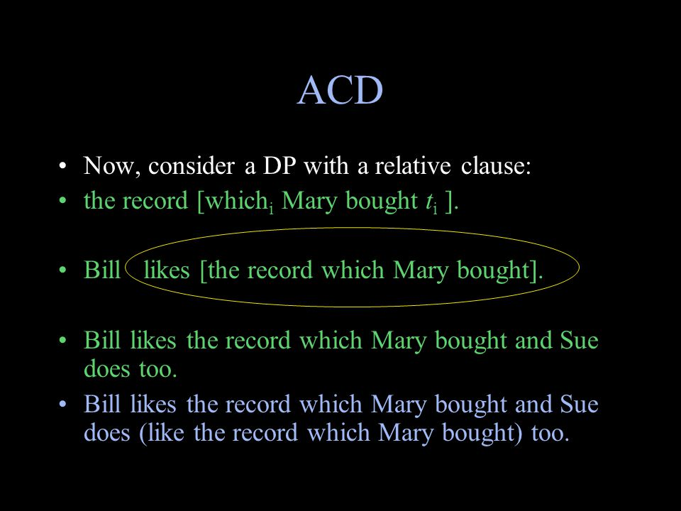ACD Now, consider a DP with a relative clause: the record [which i Mary bought t i ]. Bill likes [the record which Mary bought]. Bill likes the record