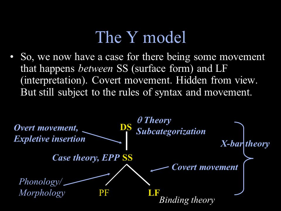 The Y model So, we now have a case for there being some movement that happens between SS (surface form) and LF (interpretation). Covert movement. Hidd