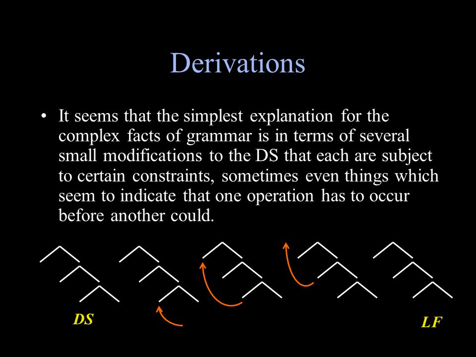Derivations It seems that the simplest explanation for the complex facts of grammar is in terms of several small modifications to the DS that each are subject to certain constraints, sometimes even things which seem to indicate that one operation has to occur before another could.