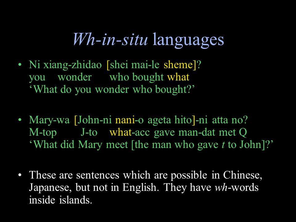 Wh-in-situ languages Ni xiang-zhidao [shei mai-le sheme].