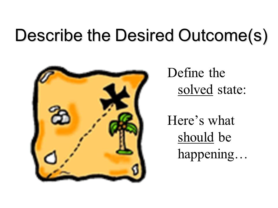 Describe the Desired Outcome(s) Define the solved state: Here's what should be happening…